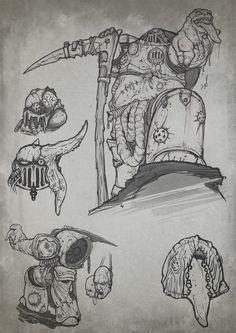 chaos death_guard lineart nurgle savier scythe sketch space_marines