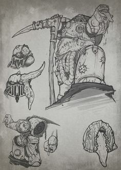 chaos death_guard lineart nurgle savier scythe sketch space_marines