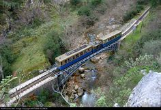 RailPictures.Net Photo: 3004 OSE Hellenic Railways DECAUVILLE at Diakofto-Kalavrita, Greece by ARTEMIS KLONOS Airplanes, Trains, Boats, Transportation, Bridge, Landscapes, Photos, Places, Railings