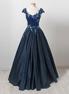 Custom made dark blue lace long prom dress, formal dress