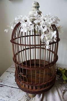 Dome top birdcage antique rusty farmhouse rare large rustic bird cage embellished w/ white millinery flowers  home decor anita spero design