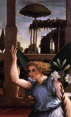 1480 - 1557 Lorenzo Lotto, Annunciation, 1534-35, Pinacoteca Civica, Recanati (detail)