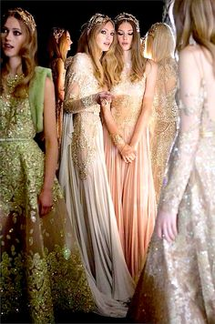 Beautiful gowns backstage at Elie Saab Couture Fall 2015 Couture Fashion, Runway Fashion, Fashion Show, Fashion Design, Dress Fashion, Elie Saab Haute Couture, Middle Eastern Fashion, Middle Eastern Clothing, Ellie Saab