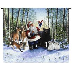 Pure Country Weavers Santa in the Forest Tapestry - Christmas Wood, Father Christmas, Santa Christmas, Christmas Morning, Christmas Pictures, Christmas Wishes, Family Christmas, Vintage Christmas, Christmas Crafts