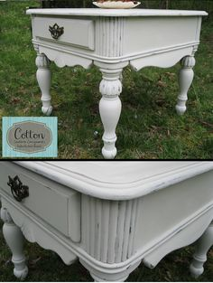 SOLD ~ beautiful end table painted with Annie Sloan Chalk Paint in Old White. Distressed, and finished with ASCP Clear Wax. Painted Furniture For Sale, Chalk Paint Furniture, Furniture Redo, Outdoor Furniture, Outdoor Decor, Annie Sloan Chalk Paint, Custom Paint, End Tables, Wax