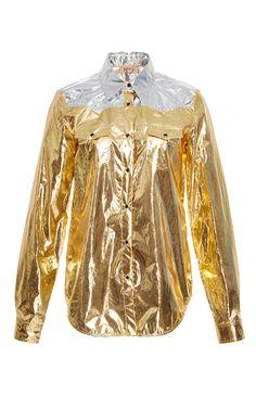 Metallic Western Style Shirt by NO. 21 Now Available on Moda Operandi