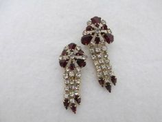 Vintage Gold Filled Ruby Red Dangle Rhinestone Brooch Pin Signed M&S Set of Two #MS