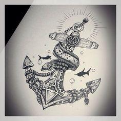 Home - Tattoo Spirit - 12 Anker-Motive mit Zitaten - Hai Tattoos, Body Art Tattoos, Sleeve Tattoos, Cool Tattoos, Tattos, Sea Tattoo, Tattoo On, Tattoo Flash, Tattoo Thigh
