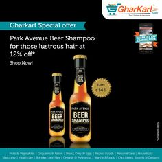 Beer is known to have beneficial effects for both hair and skin. The malt and hops in beer is rich in proteins that help repair damaged hair and revive volume.  Now buy Park Avenue beer shampoo and 12% off and get lustrous hair. A wide range brands now available at Gharkart. To know more about offers Visit: http://www.gharkart.com/ Today! ‪#‎Gharkart‬ ‪#‎Onlineshopping‬ ‪#‎Groceries‬ ‪#‎homeneeds‬ ‪#‎parkavenue‬ ‪#‎beershampoo‬ ‪#‎onlinegrocery‬ ‪#‎hyperstore‬ ‪#‎hypermarket‬