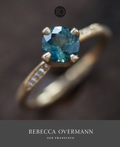 Sapphire Pavé Prong Ring - a 1ct bluish-green sapphire prong set in a pavé water band, by Rebecca Overmann.