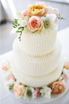 Rustic chic wedding cake idea - three-tier wedding cake with piped, textured frosting and fresh peach, cream, and pink flowers { Wedding Cakes With Flowers, Cool Wedding Cakes, Cake Flowers, Fresh Flowers, Pretty Flowers, Pink Flowers, Pretty Cakes, Beautiful Cakes, Amazing Cakes