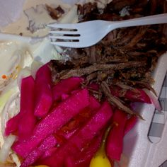 Shawarma and humus with red beets! #middleeasternfood