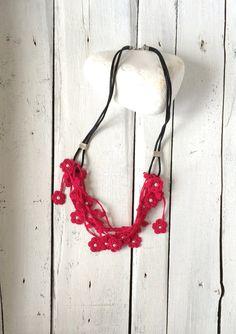 Fuchsia Crochet Statement Necklace, Bib Necklace, Beadwork, Bib Necklace, Crochet Jewelry, ReddApple, Fast Delivery