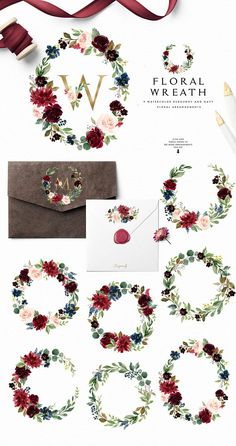 Burgundy&Navy Floral Graphic Set by Graphic Box on This Beautiful Burgundy Watercolor Flowers are perfect for product designs, wedding invitation, greeting cards, business cards, logo and so on! Watercolor Flower Wreath, Floral Watercolor, Flower Art, Art Flowers, Watercolor Logo, Watercolor Design, Watercolor Background, Clipart, Floral Frames