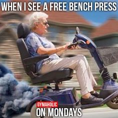 When I See A Free Bench Press On Mondays More motivation -> http://www.gymaholic.co/ #fit #fitness #fitblr #fitspo #motivation #gym #gymaholic #workouts #nutrition #supplements #muscles #healthy
