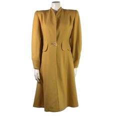Vintage Winter Coat by Bettie Rose - Mustard - early 1940s. This is the kind of coat I can easily imagine Nancy Drew wearing.