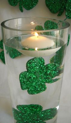 """#Deco_Dots #Water_Dazzlers (TM) Shape and Bake by #burtonandburton #St_Patricks_Day #green #Shamrock #Irish #floating_candles #glitter #lucky #events #centerpieces #DIY #crafts DIY """"Water Dazzler"""" cost less than .50 cents each to make using #Deco_Dots_Shape_and_Bake"""