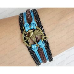 Ancient Bronze Hunger Games Mocking Bird bracelet--black and brown... ($5.99) ❤ liked on Polyvore