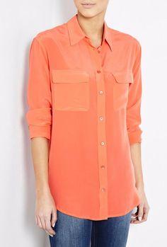 NWT EQUIPMENT Signature Silk Shirt Blouses, BRIGHT ORANGE, Medium $208 #EQUIPMENT #Blouse #Careercausal