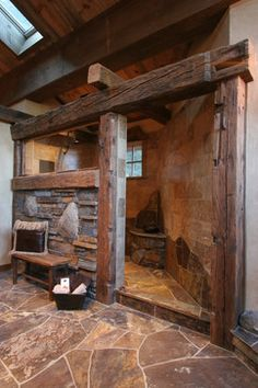 This is an amazing concept. I'm really drawn to the earthy, old world charm. Although I'm not sure how those exposed beams would hold up to water and steam. I do like it!