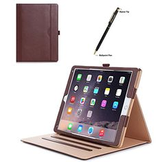 Apple iPad Pro Case  ProCase Leather Stand Folio Case Cover for 2015 Apple iPad Pro 12.9 inch with Multiple Viewing angles auto Sleep/Wake Document Card Pocket (Brown)