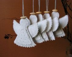 Set of 4 Christmas felt angel decoration Felt by MisPearlBerry