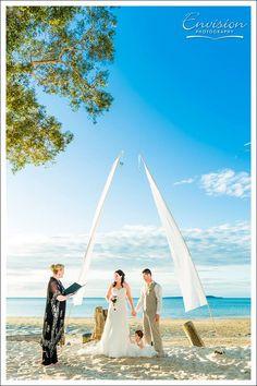 Fraser Island: Sunset Beach ceremony   Photo: Envision  Photography   #kingfisherbay #fraserisland #destinationwedding #fraserislandwedding #fraserwedding http://www.fraserislandweddings.com.au/ #AccorAustralia #Mercure