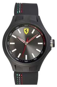 Free shipping and returns on Scuderia Ferrari 'Pit Crew' Silicone Strap Watch, 45mm at Nordstrom.com. A slick round watch includes a clean dial housed in a lightweight case and finished with a flexible silicone strap. Colorful racing stripes salute Ferarri's luxury sports-car heritage.