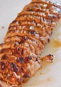 Pork Tenderloin marinated in olive oil, soy suace, red wine vinegar, lemon juice, Worcestershire sauce, parsley, dry mustard, pepper and garlic