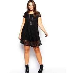Find the best selection of New Look Inspire Lace Cap Sleeve Swing Dress. Shop today with free delivery and returns (Ts&Cs apply) with ASOS! Plus Size Lace Dress, High Neck Lace Dress, Curvy Outfits, Dress Outfits, Fashion Outfits, Robe Swing, Swing Dress, Sexy Dresses, Short Sleeve Dresses