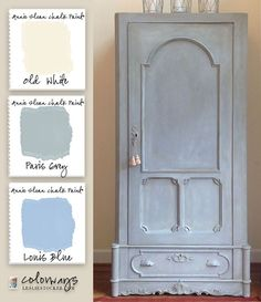 Colorways with Leslie Stocker » The Louis Blue, Blues Armoire painted in Annie Sloan Chalk Paint. Louis Blue, Paris Grey, Old White