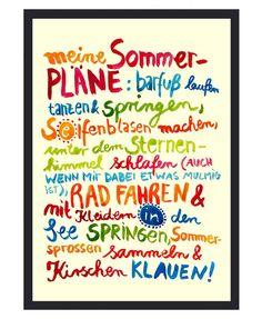 """Frau Ottilie ★ Kunstdruck """"Meine Sommerpläne"""" gelb"""
