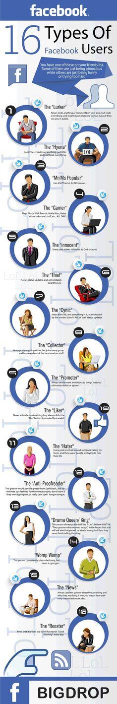 16 tipos de usuarios de Facebook [Infografía]