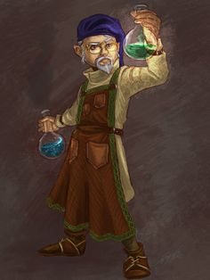 "A portrait of a gnome alchemist character for a Savage Worlds fantasy RPG scenario. I drew this in Photoshop, where I'm trying to learn how to improve my techniques in ""painting."" I can't really of..."