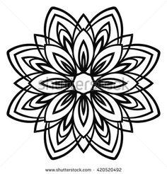 Ornamental round doodle flower isolated on white background. Circle Doodles, Flower Doodles, Mandala Flower Tattoos, Mandala Tattoo Design, Geometric Sleeve, Geometric Circle, Paisley Art, Flower Outline, Mandala Stencils