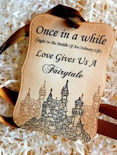 Castle themed tag for wedding favors.  See more castle wedding favors and party ideas at www.one-stop-party-ideas.com