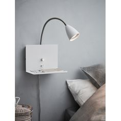 Markslöjd 107140 - Dimmelhető fali lámpa USB-vel LOGI 1xGU10/7W/230V | lampak.hu Metal Shelves, Wall Shelves, Bauhaus, Usb, Linen Wallpaper, Wall Mounted Lamps, Diamond Wall, Wall Spotlights, Large Coffee Tables