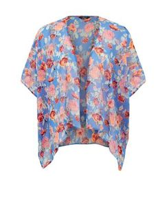 Over a bikini or with jeans, our Teens Blue Rose Print Kimono is oh so pretty. #newlook