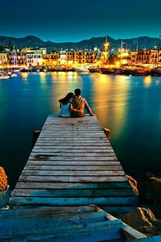Romantic Cyprus... Sitting on the pier holding you looking across at the lights of the city...<3