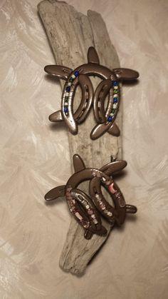 Metal horseshoe circa 1960s Hand made Lucky talisman Christmas decorations Farmhouse decor Vintage horseshoe