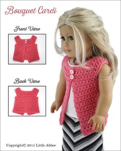 Little Abbee Bouquet Cardi Doll Clothes Pattern 18 inch American Girl Dolls   Pixie Faire
