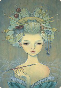Japanese modern art Oiran oil on wood 20x28 Smitten @ Thinkspace Gallery