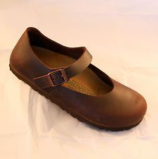 BIRKENSTOCK MANTOVA WOMEN'S BALLERINA SHOES BROWN HABANA LEATHER FLATS BALLET