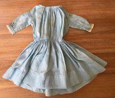 Primitive Antique Blue Batiste Doll Dress Philadelphia Attic Handstitched c1860 #Americana #Handmade