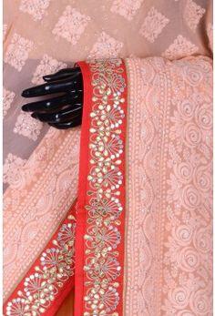 Pure Georgette Embroidery-Peach-Chikankari Work-WI3672