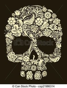 Vector - Floral skull - stock illustration, royalty free illustrations, stock clip art icon, stock clipart icons, logo, line art, EPS picture, pictures, graphic, graphics, drawing, drawings, vector image, artwork, EPS vector art