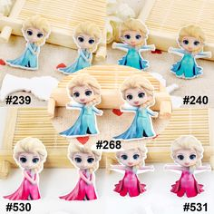 50pcs Mixed Princess Elsa Flatback Resins Assort Kawaii Cartoon Character Planar Resin DIY Craft for Home Decoration Accessories