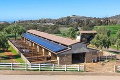 Idea to use ~ Outdoor area connected to each stall/ Solar panels Dream Stables, Dream Barn, Paddock Trail, Barn Layout, Horse Farm Layout, Horse Barn Designs, Horse Barn Plans, Horse Shelter, Horse Property
