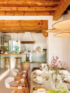 Rustic Italian Home Home Decor Kitchen, Rustic Kitchen, Country Kitchen, Kitchen Interior, Home Kitchens, Kitchen Dining, Dining Room, Dining Table, Küchen Design
