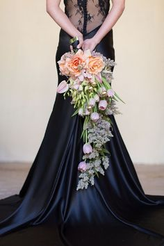 Cascading Bouquet and Black Wedding Dress